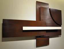 Wall sculpture Serenity  - Cor-ten steel and marble